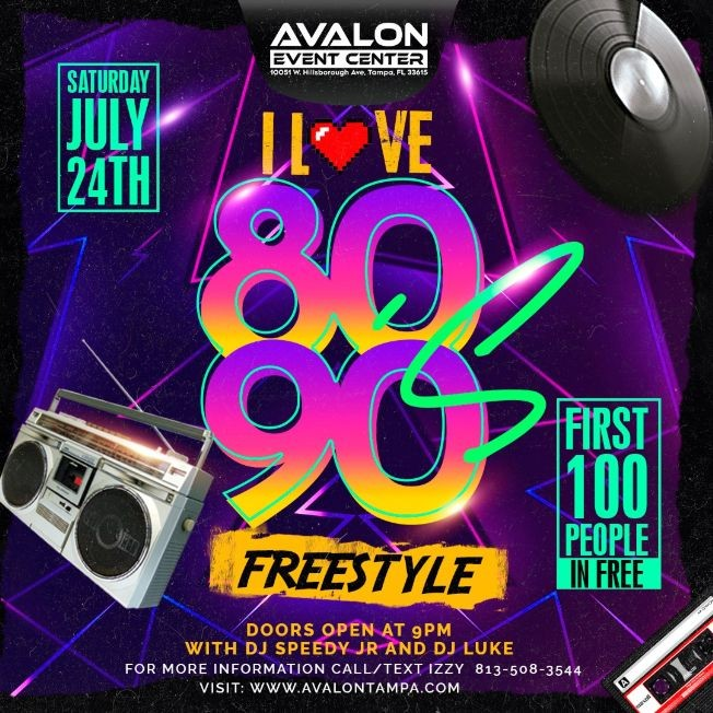 Flyer for I Love 80s and 90s Freestyle Party!