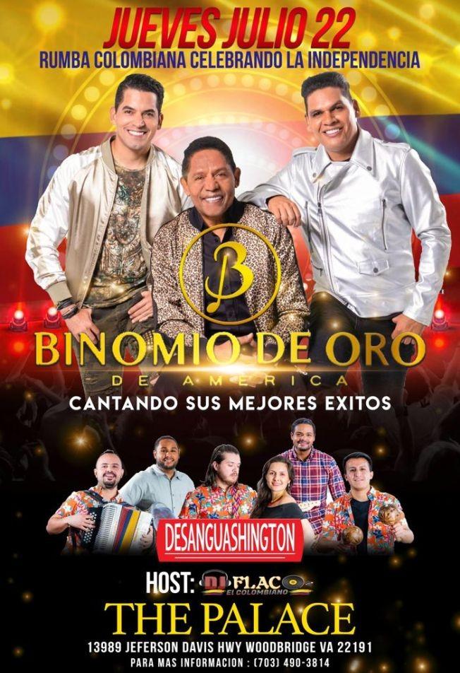 Flyer for TONIGHT BINOMIO DE ORO y  DESANGUASHINGTON