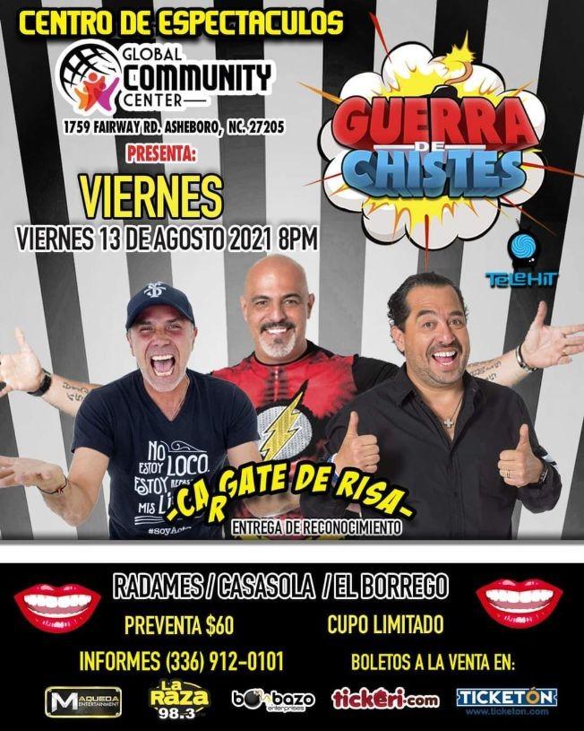 Flyer for RADAMES / CASASOLA / EL BORREGO, CARGATE DE RISA, GUERRA DE CHISTES EN ASHEBORO NORTH CAROLINA