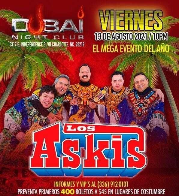 Flyer for LOS ASKIS EN CONCIERTO ! CHARLOTTE NORTH CAROLINA