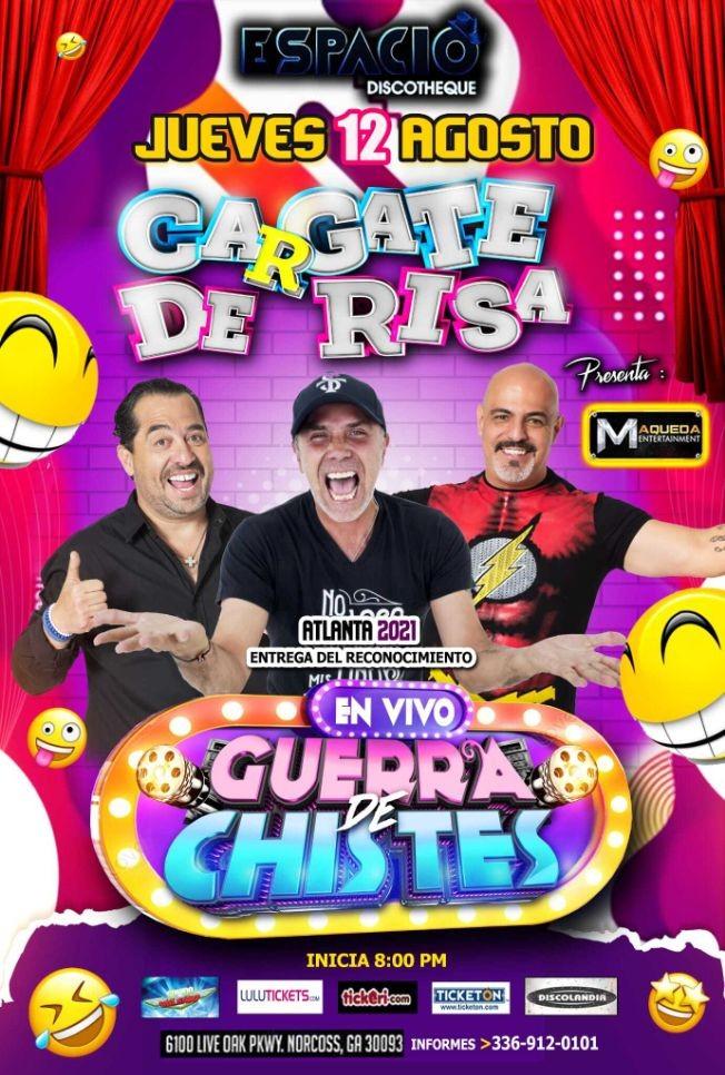 Flyer for RADAMES / CASASOLA / EL BORREGO, CARGATE DE RISA, GUERRA DE CHISTES EN NORCROSS GEORGIA