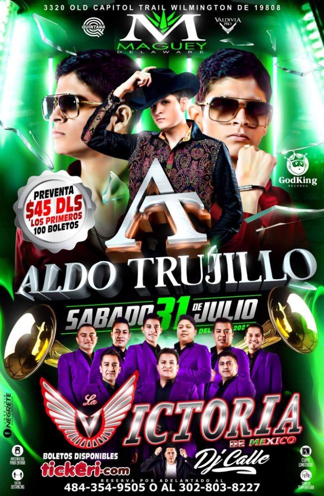 Flyer for ALDO TRUJILLO Y LA VICTORIA DE MEXICO
