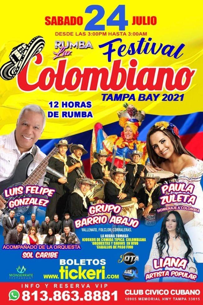 Flyer for FESTIVAL COLOMBIANO TAMPA  2021 ( CELEBRANDO INDEPENDENCIA DE COLOMBIA EN TAMPA)