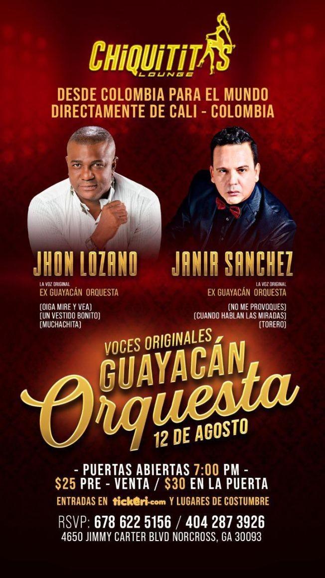 Flyer for JHON LOZANO, JANIR SANCHEZ, VOCES ORIGINALES GUAYACAN ORQUESTA EN CONCIERTO ! NORCROSS GEORGIA