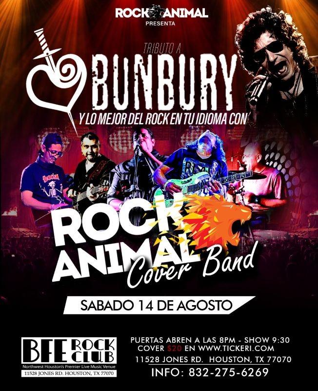 Flyer for Tributo a Bunbury y lo mejor del rock en tu idioma con Rock Animal
