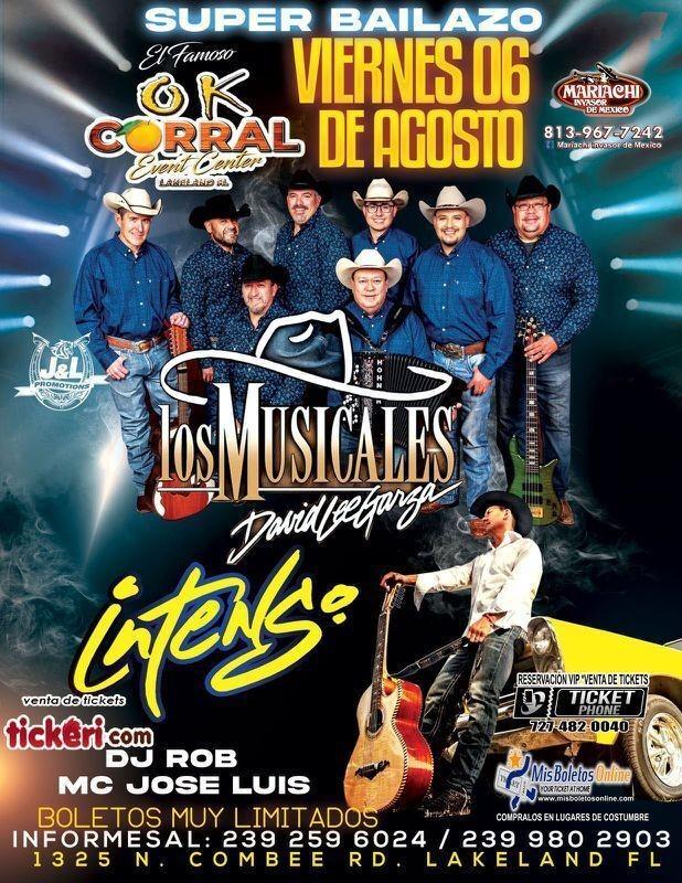 Flyer for GRUPO LOS MUSICALES DE DAVID LEE GARZA, GRUPO INTENSO EN CONCIERTO ! LAKELAND FLORIDA