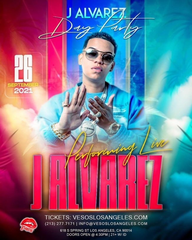 Flyer for Vesos Day Party with J Alvarez Performing Live