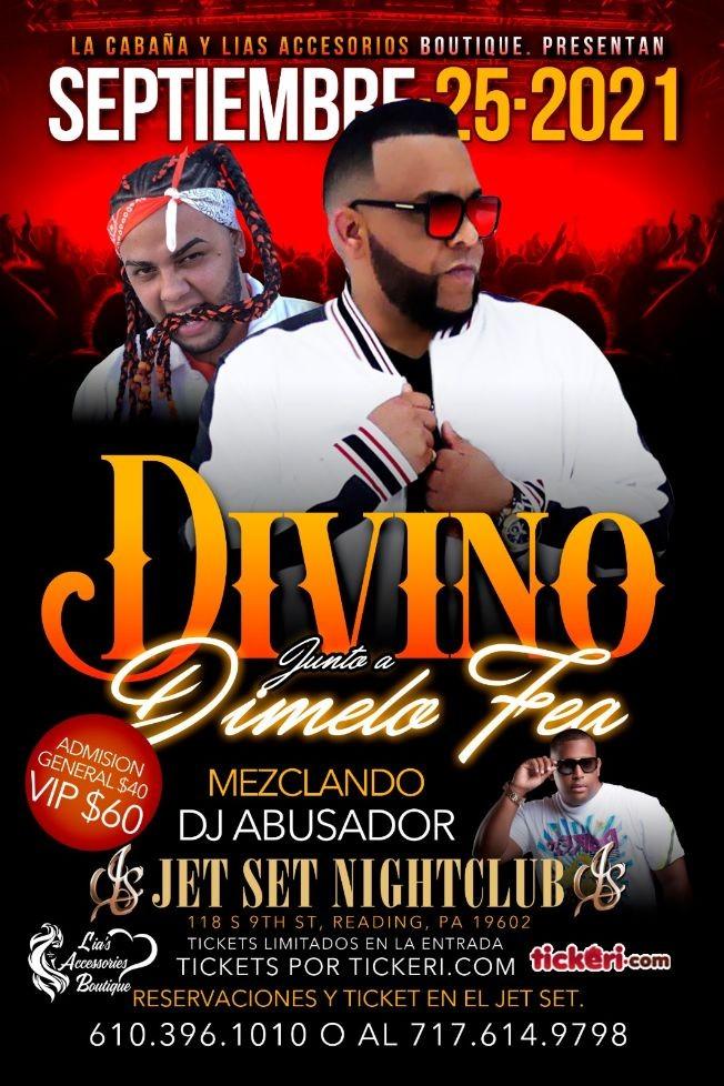 Flyer for DIVINO JUNTO A DIMELO FEA EN EL JET SET NIGHTCLUB