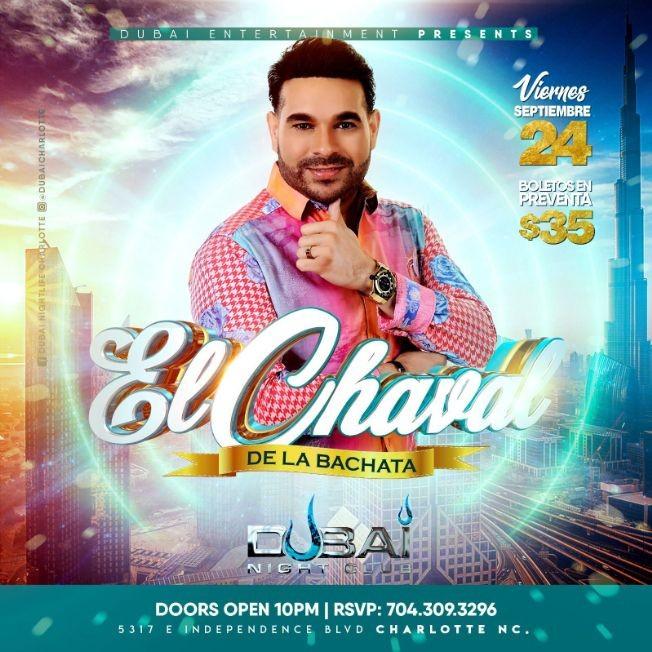 Flyer for EL CHAVAL DE LA BACHATA EN CONCIERTO ! CHARLOTTE NORTH CAROLINA