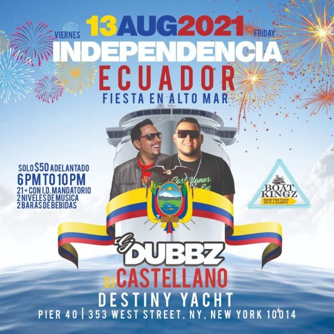 Flyer for Ecuadorian Independence Summer Cruise At Destiny Yacht