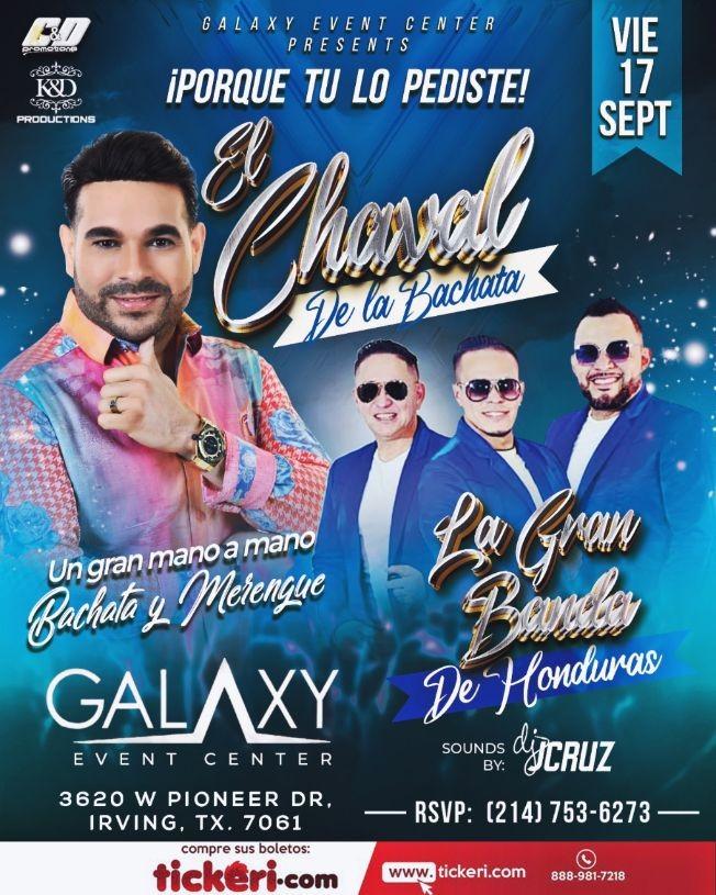 Flyer for EL CHAVAL DE LA BACHATA - LA GRAN BANDA DE HONDURAS - IRVING TEXAS