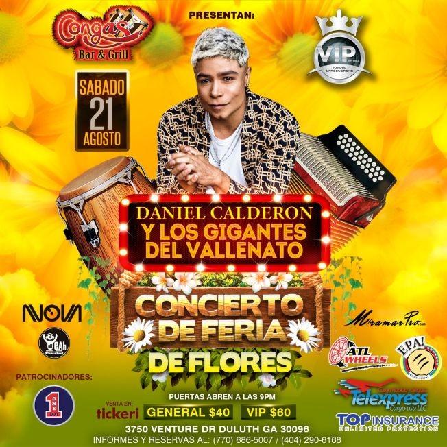 Flyer for Daniel Calderon y los Gigantes del Vallenato Concierto Feria de las Flores