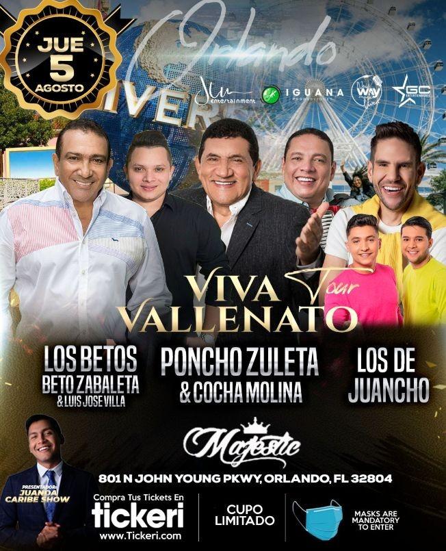 "Flyer for ""VIVA VALLENATO TOUR"" ORLANDO - BETO ZABALETA & LUIS JOSE VILLA ""LOS BETOS"", PONCHO ZULETA & COCHA MOLINA, LOS DE JUANCHO"