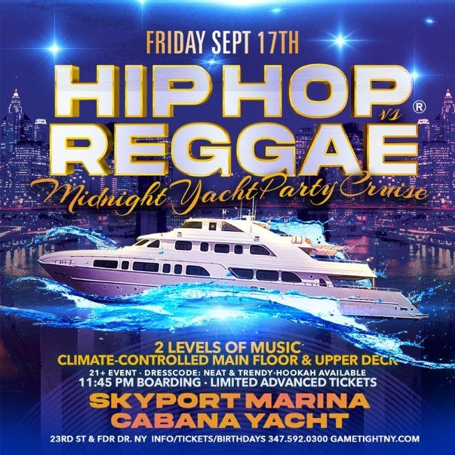 Flyer for NYC Hip Hop vs Reggae® Midnight Cruise Skyport Marina Cabana Yacht
