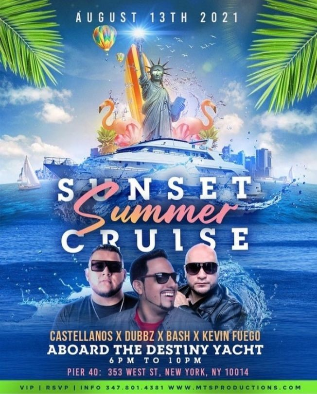 Flyer for Sunset Summer Party Cruise At Destiny Yacht