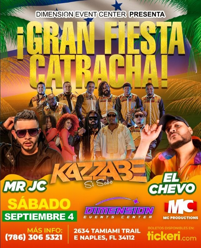 Flyer for Kazzabe, El Chevo & Mr Jc - Naples, Fl (Dimension Event Center)