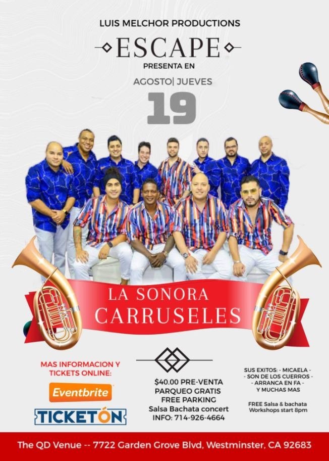 Flyer for SONORA CARRUSELES LIVE CONCERT
