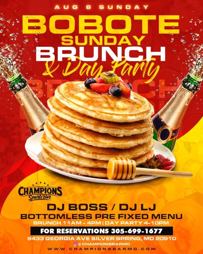 Flyer for Bobote Sunday Brunch & Day Party