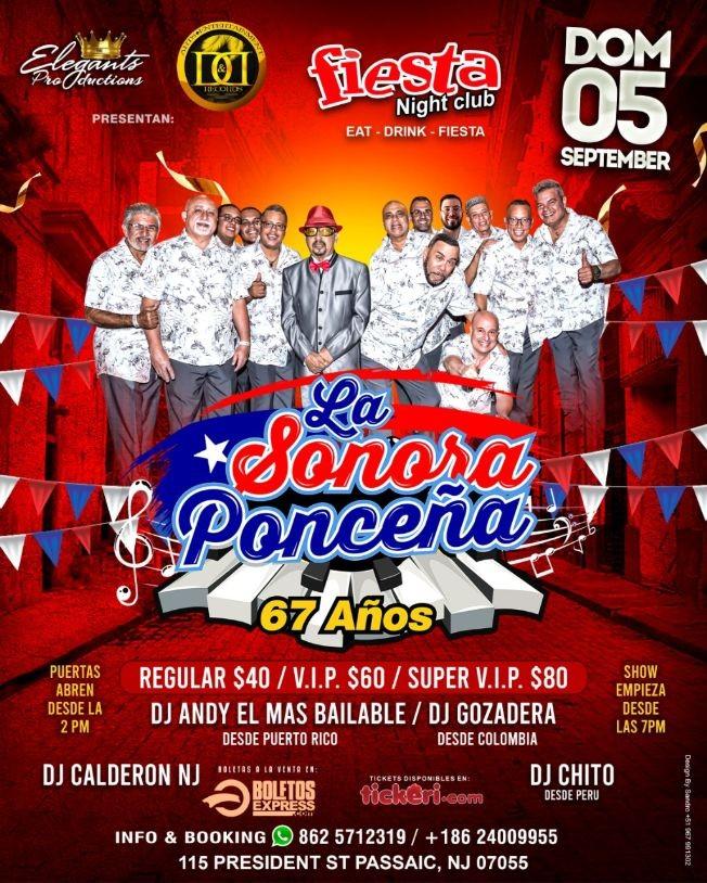 Flyer for La Sonora Ponceña celebrando 67 años en Passaic NJ!