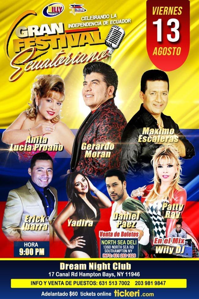 Flyer for GRAN FESTIVAL ECUATORIANO EN LONG ISLAND -VIERNES 13 DE AGOSTO 10:00PM
