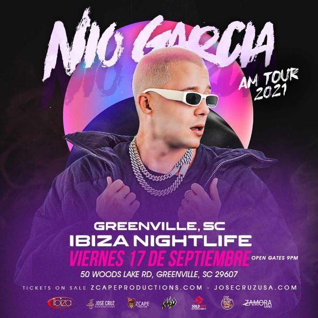 Flyer for NIO GARCIA AM TOUR 2021 EN GREENVILLE