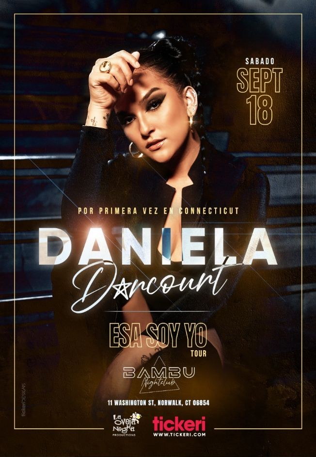 Flyer for Daniela Darcourt en Connecticut // Unica Presentacion