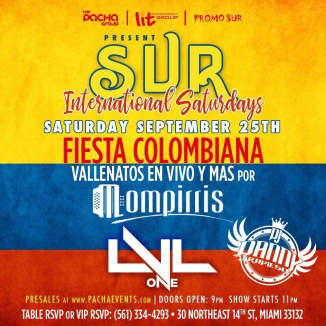 """Flyer for FIESTA COLOMBIANA """"VALLENATOS y MAS en VIVO POR MOMPIRRIS """" CANCELED"""