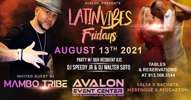Flyer for Latin Vibes Friday at Avalon Event Center