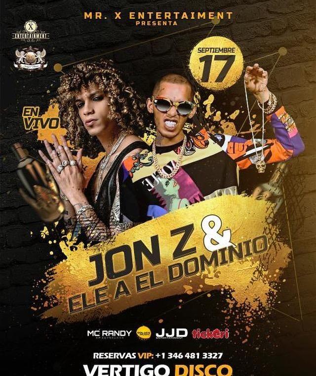 Flyer for Jon Z & ELE A El Dominio juntos por primera vez en Houston