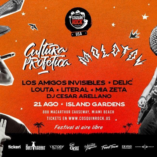 Flyer for Cosquin Rock USA con Molotov, Cultura Profetica, Los Amigos Invisibles, Delic, Louta, Literal, Mia Zeta