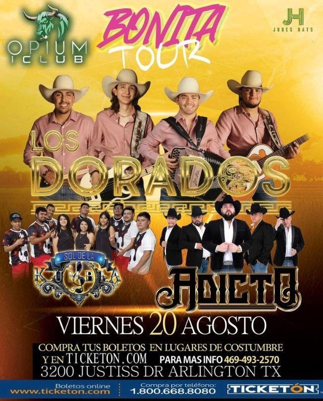 Flyer for LOS DORADOS - SOL DE LA KUMBIA - ADICTO - BONITA TOUR - ARLINGTON TEXAS