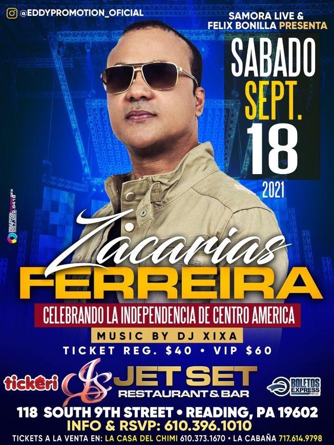 Flyer for ZACARIAS FERREIRA EN CONCIERTO !  READING PENNSYLVANIA