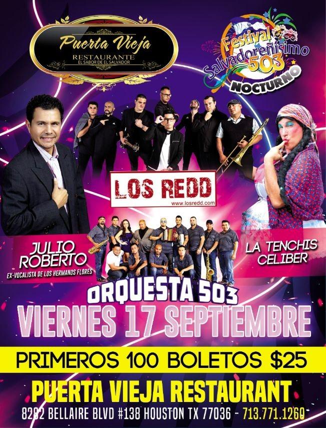 Flyer for LOS REDD- LA TENCHI - ORQUESTA 503 - JULIO ROBERTO ( EX VOCALISTA HERMANOS FLORES) FESTIVAL SALVADOREÑISIMO NOCTURNO