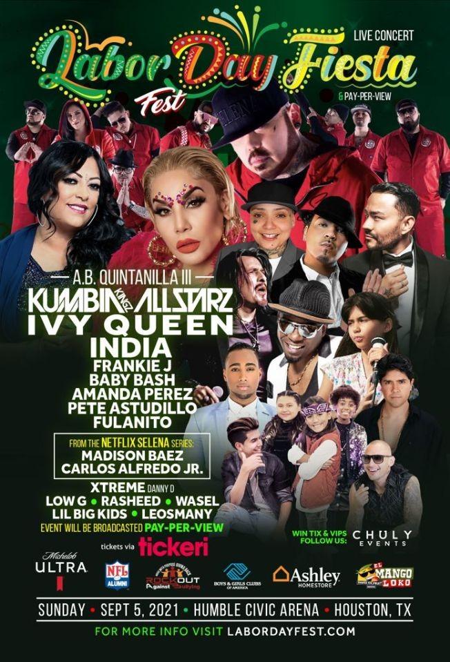 Flyer for LABOR DAY FIESTA FEST - AB Quintanilla y Los Kumbia Kingz All Starz - Ivy Queen - India - Frankie J - Baby Bash - Amanda Perez - Pete Astudillo -  Fulanito - Xtreme Y MUCHOS MAS