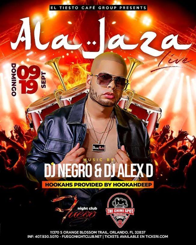 Flyer for ALA JAZA EN VIVO ORLANDO FLORIDA