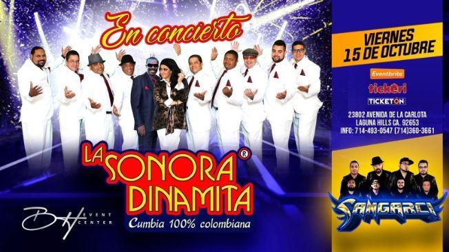Flyer for LA SONORA DINAMITA CUMBIA 100% COLOMBIANA EN CONCIERTO ! LAGUNA HILLS CALIFORNIA