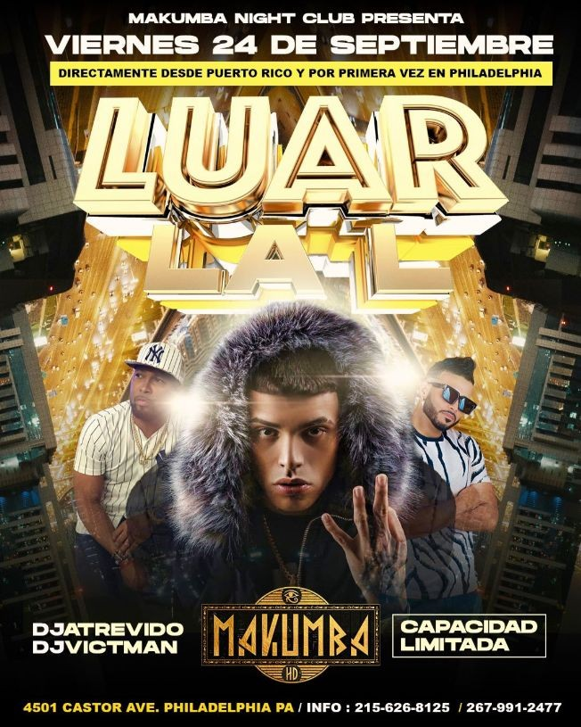 Flyer for Por Primera vez en Philadelphia desde Puerto Rico: Luar La L en Vivo!