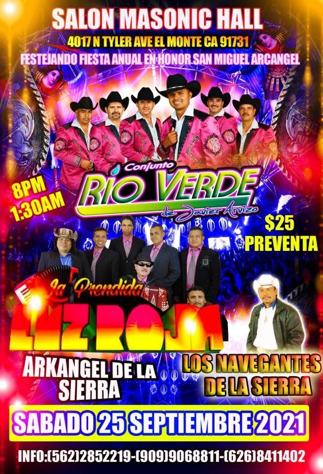 Flyer for Conjunto Rio Verde, La Prendida Luz Roja y Los Navegantes de la Sierra en Vivo!