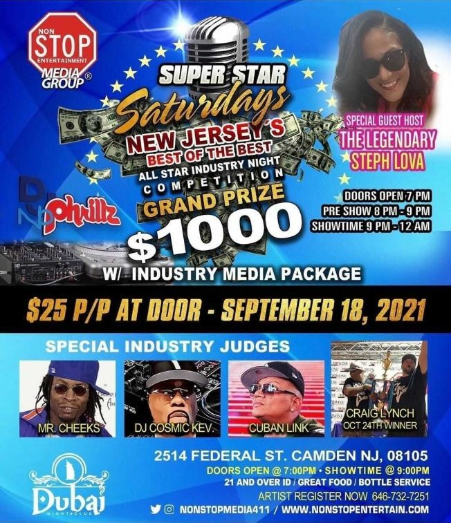 Flyer for SUPER STAR SATURDAYS, SPECIAL INDUSTRY JUDGES MR CHEEKS, DJ COSMIC KEV, CUBAN LINK, CRAIG LYNCH ! CAMDEN NEW JERSEY