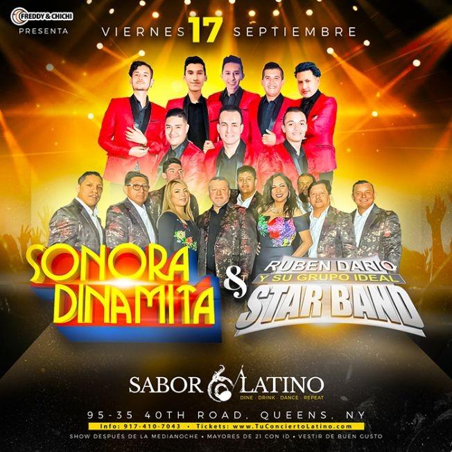 Flyer for SONORA DINAMITA vs RUBEN DARIO Y SU GRUPO IDEAL STAR BAND