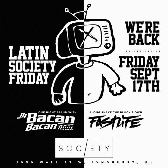 Flyer for Grand Opening Of Latin Society Fridays At Society