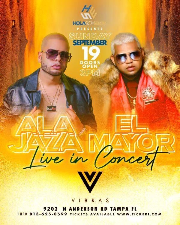 Flyer for Alajaza y El Mayor Live en Tampa