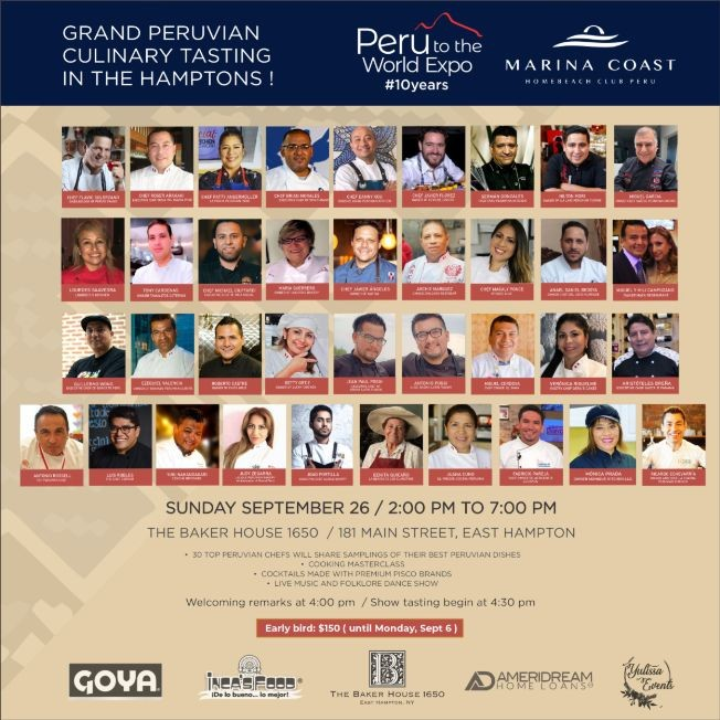 Flyer for 10th Peru to the World Expo, Grand Culinary Tasting at The Hamptons