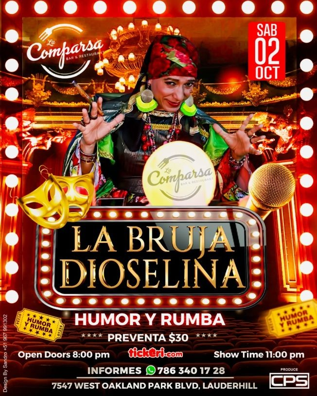 Flyer for LA BRUJA DIOSELINA EN LAUDERHILL (BROWARD)