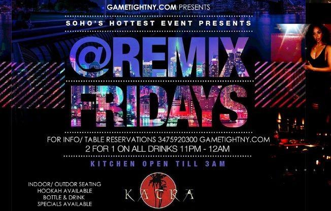Flyer for Katra Lounge NYC Remix Fridays