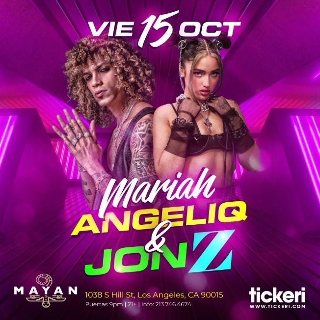 Flyer for MARIAH ANGELIQ Y JON Z EN LOS ANGELES