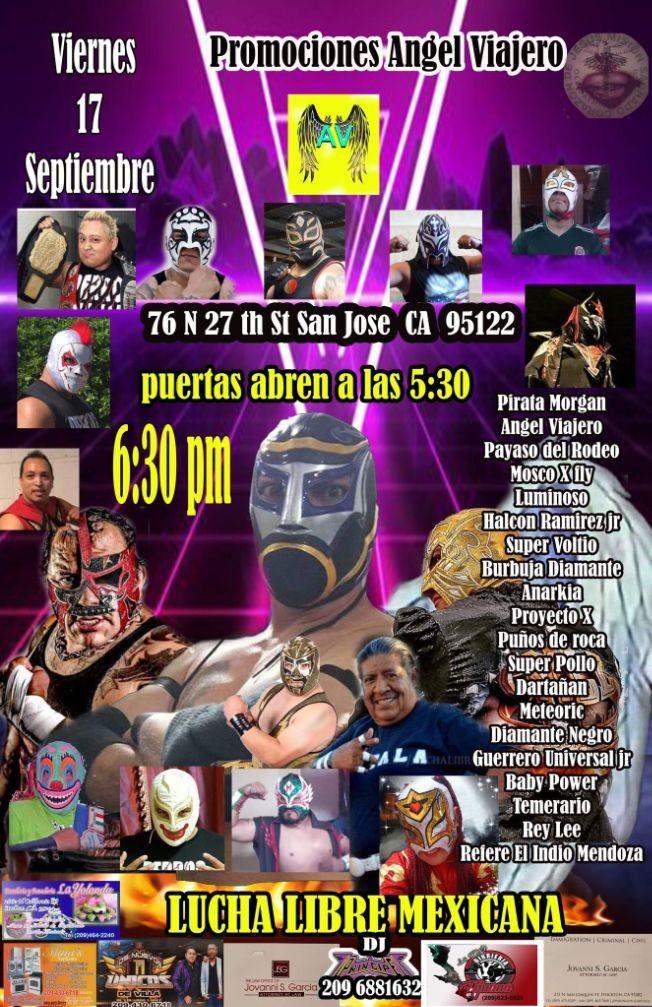 Flyer for LUCHA LIBRE MEXICANA, PIRATA MORGAN, ANGEL VIAJERO, PAYASO DEL RODEO,  LUMINOSO, SUPER VOLTIO Y OTROS EN VIVO ! SAN JOSE CALIFORNIA