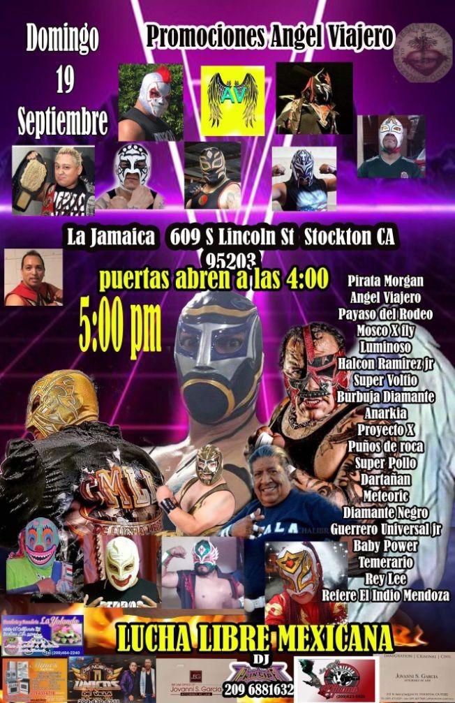 Flyer for LUCHA LIBRE MEXICANA, PIRATA MORGAN, ANGEL VIAJERO, PAYASO DEL RODEO,  LUMINOSO, SUPER VOLTIO Y OTROS EN VIVO ! STOCKTON CALIFORNIA