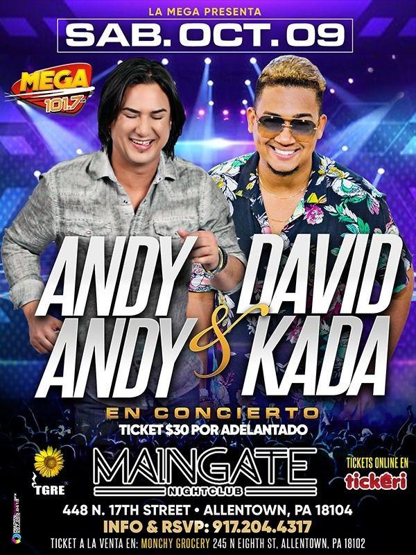 Flyer for ANDY ANDY & DAVID KADA 🔥 EN CONCIERTO 🔥 ALLENTOWN, PA