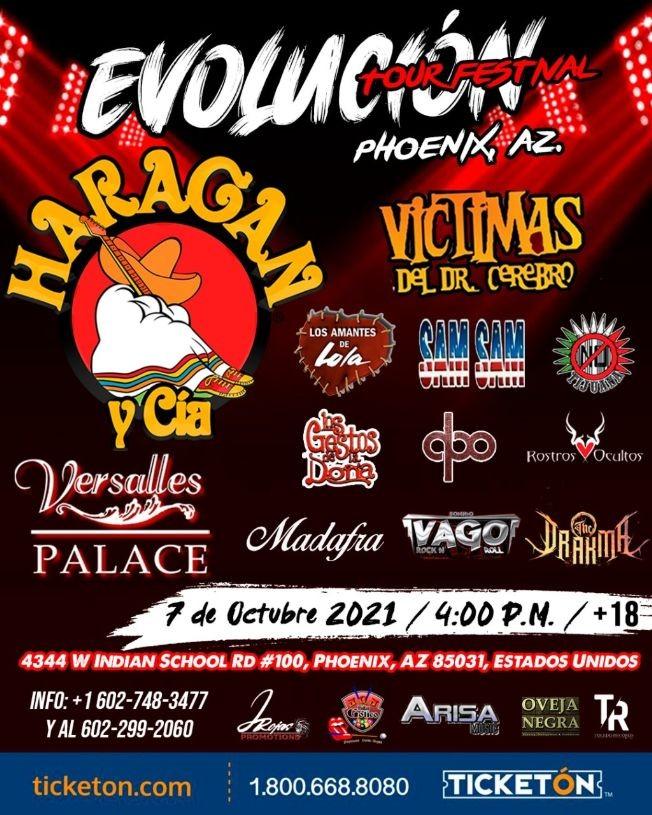 Flyer for EL HARAGAN Y CIA, VICTIMAS DEL DOCTOR CEREBRO, LOS AMANTES DE LOLA, LOS GESTOS DE LA DOÑA  EN VIVO ! EVOLUCION TOUR -PHOENIX ARIZONA